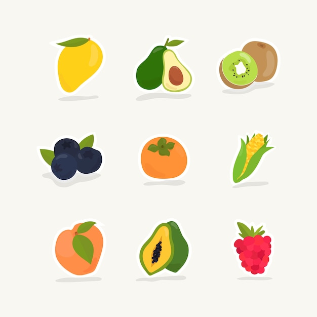 Collection of fruits and berries Free Vector