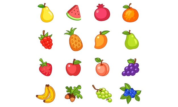 Collection of fruits Premium Vector