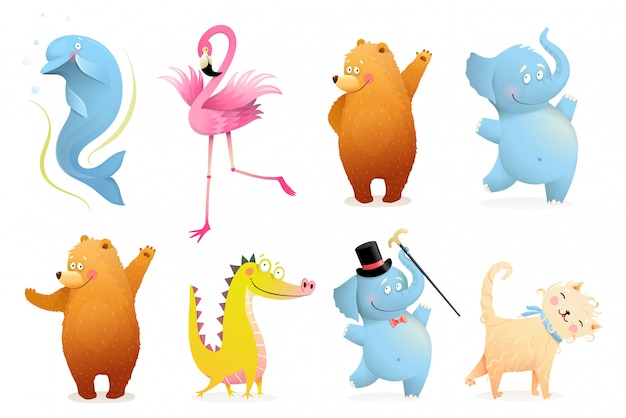 Collection of funny baby animals for kids projects. adorable colorful isolated clipart animals bear, elephant, flamingo, dolphin, crocodile or dinosaur and cat or kitten. isolated clipart. Premium Vector