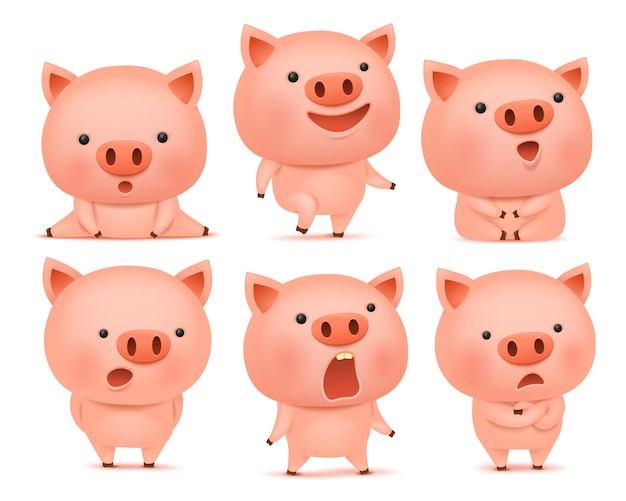 Collection of funny pig cmoticon characters in different emotions Premium Vector
