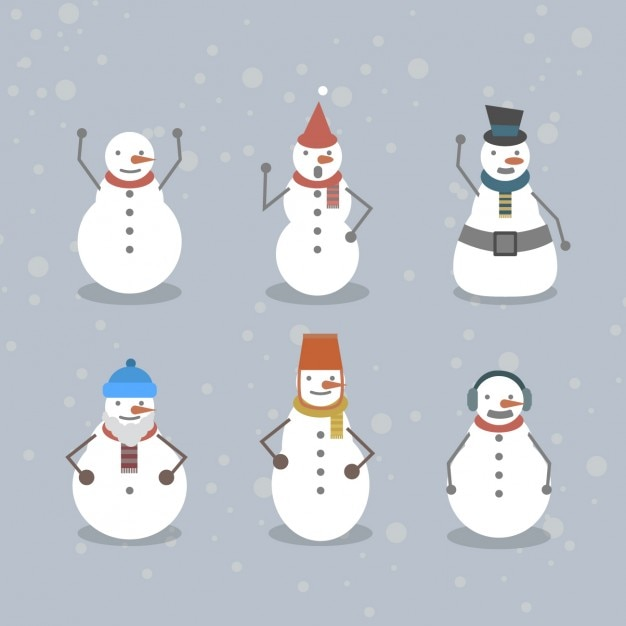 Collection of funny snowmen Free Vector