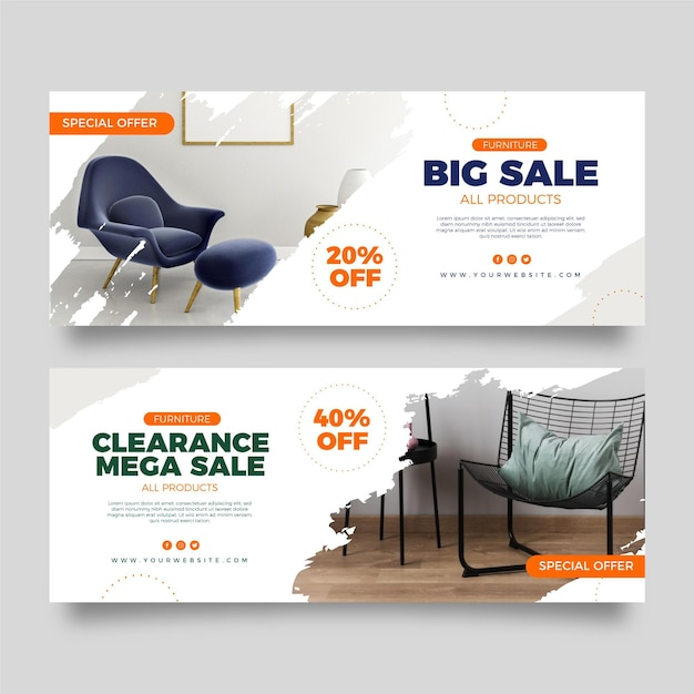 Collection of furniture sales banners Free Vector