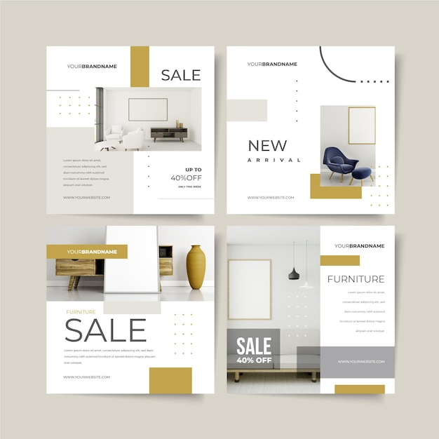 Collection of furniture sales posts Premium Vector