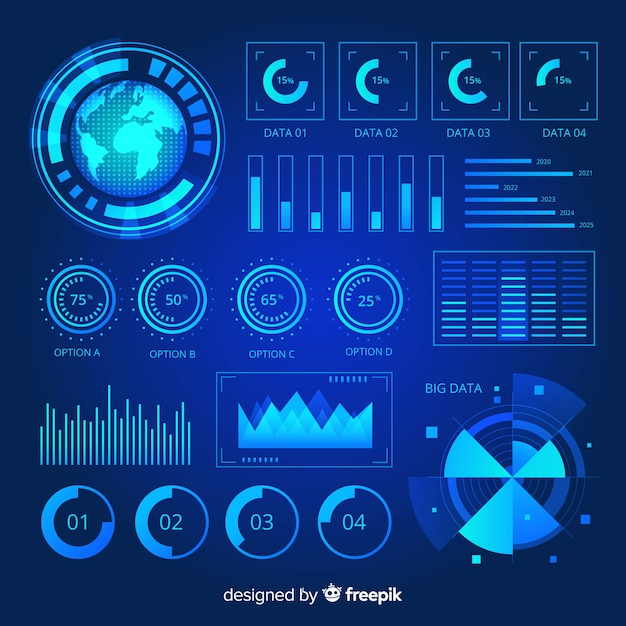 Collection of futuristic infographic elements Free Vector