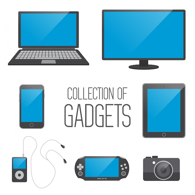 Collection of gadgets Premium Vector