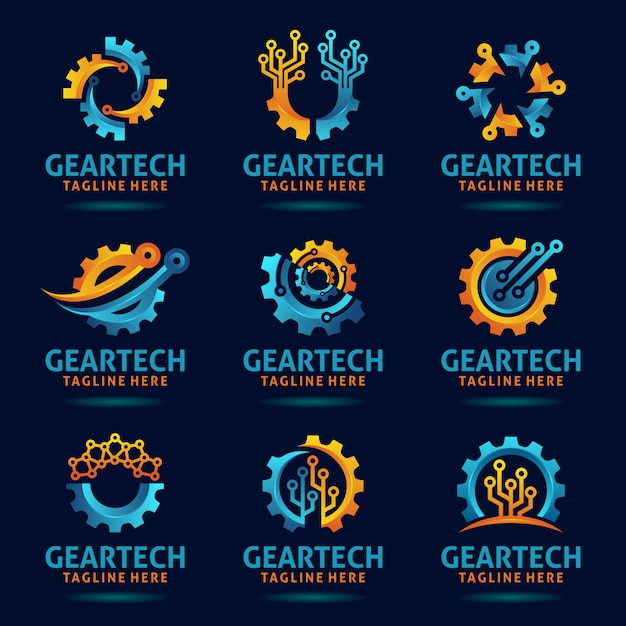 Collection of gear tech logo design Premium Vector