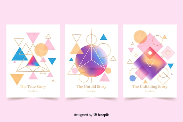 Collection of geometric design covers Free Vector