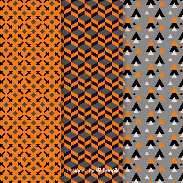 Collection of geometric halloween pattern Free Vector