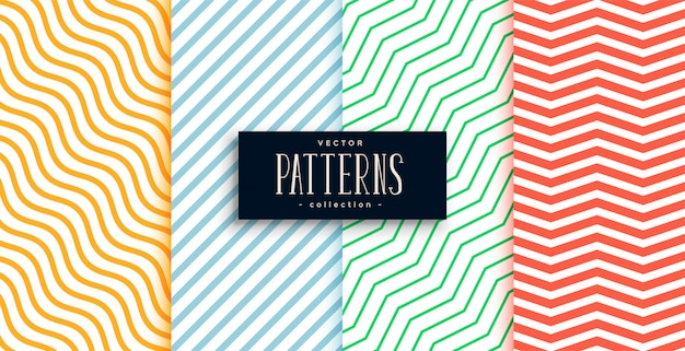 Collection of geometric minimal lines pattern set Free Vector
