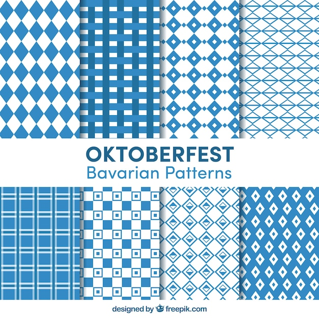 Collection of geometric patterns for oktoberfest Free Vector