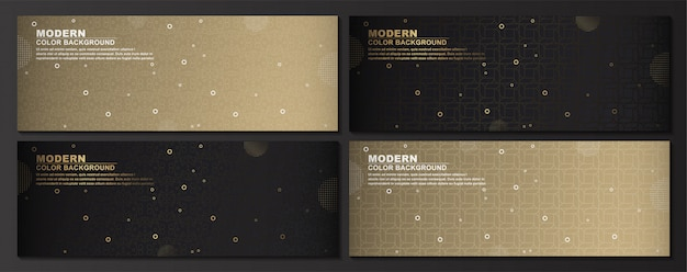 Collection of geometric set banner background Premium Vector