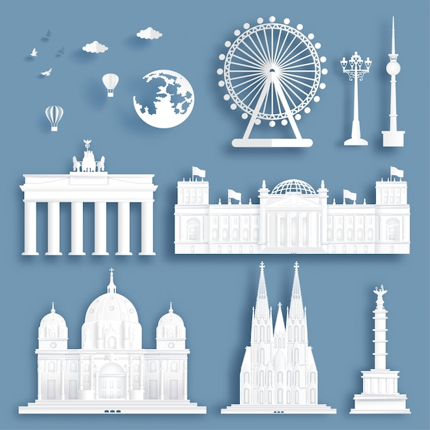 Collection of germany famous landmarks in paper cut style vector illustration. Premium Vector