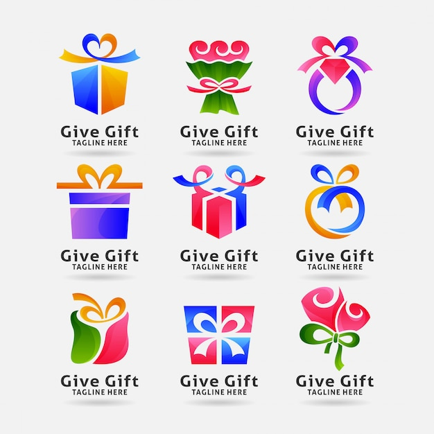 Collection of gift logo Premium Vector