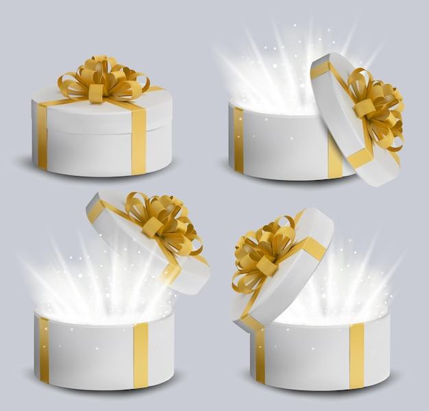 컬렉션 골드 리본 및 활 위에 흰색 선물 상자. 휴일, 선물 상자 안에 반짝임. 프리미엄 벡터
