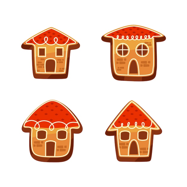 Collection of gingerbread house in flat design Free Vector