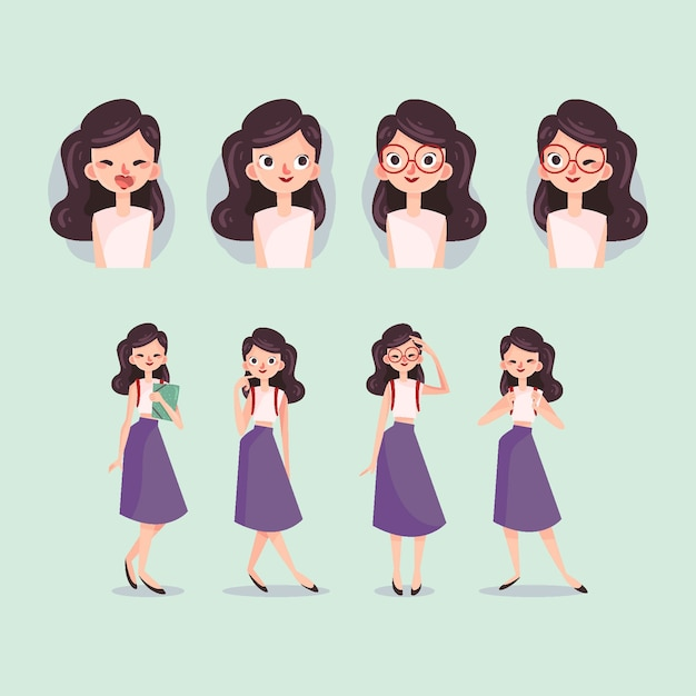 Collection of girl character poses Free Vector