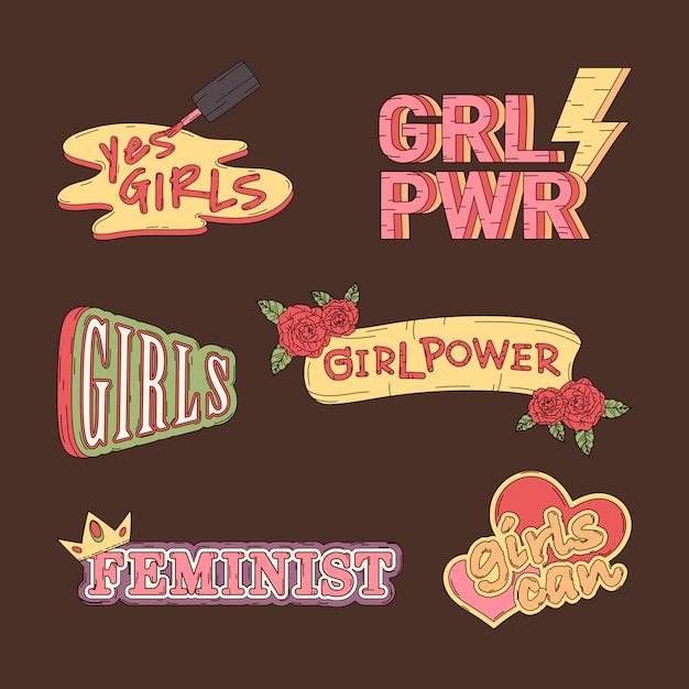 Collection of girl power vectors Free Vector