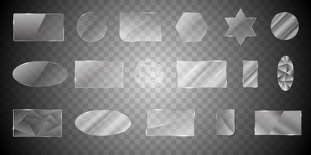 Collection of glass shapes Premium Vector