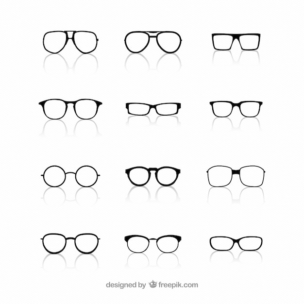 Collection of glasses Free Vector
