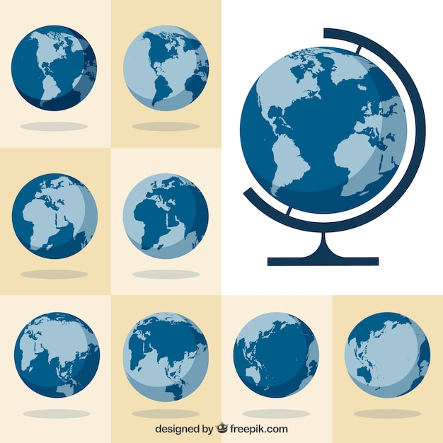 Collection of globes Free Vector