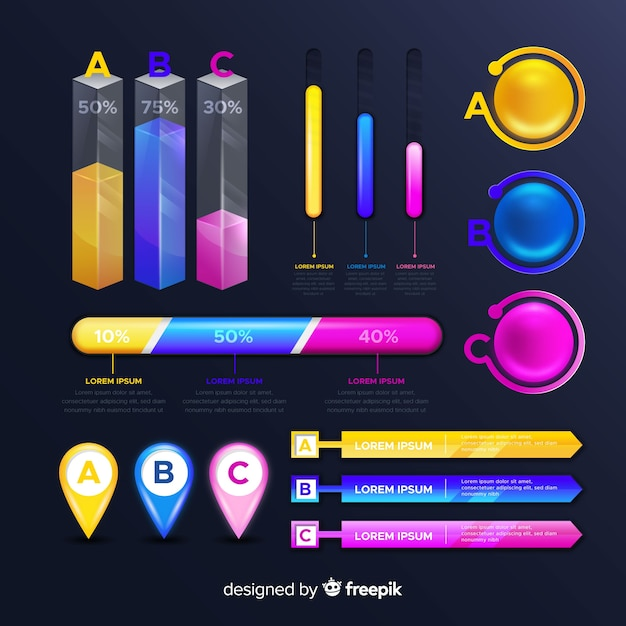 Collection of glossy infographic elements Free Vector