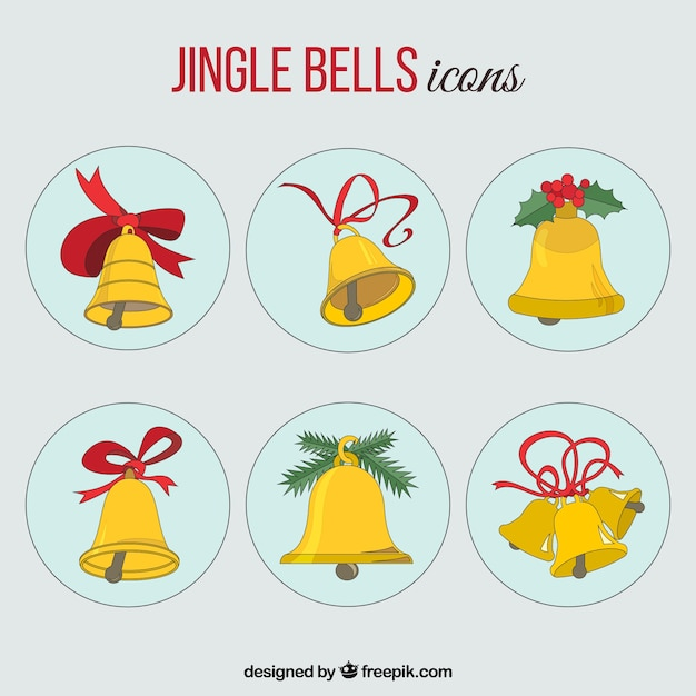 Collection of gold jingle bells Free Vector