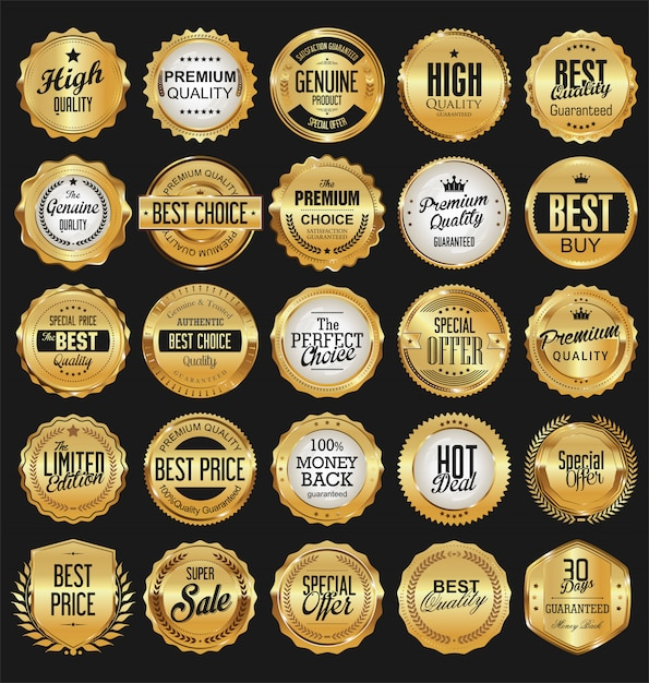 Collection of golden badges labels laurels and ribbons Premium Vector
