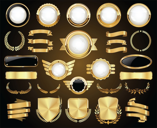 Collection of golden badges labels laurels shield and metal plates Premium Vector