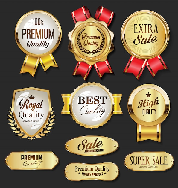 Collection of golden badges and labels retro style Premium Vector