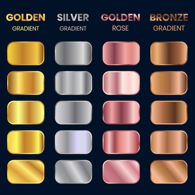 Collection of golden gradient, silver gradient, bronze gradient, golden rose gradient Premium Vector