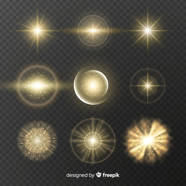 Collection of golden light effects Free Vector