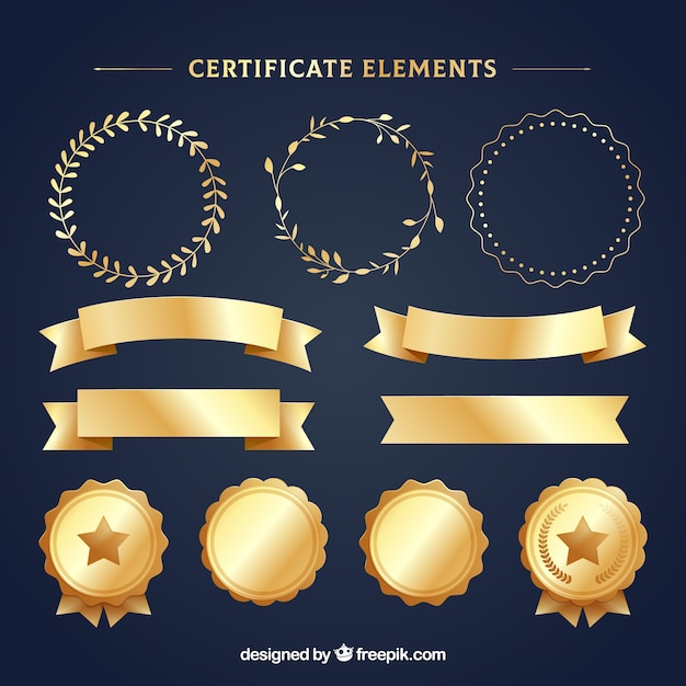 Collection of golden luxury certificate elements Premium Vector