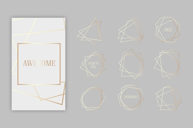 Collection of golden polygonal frame Free Vector
