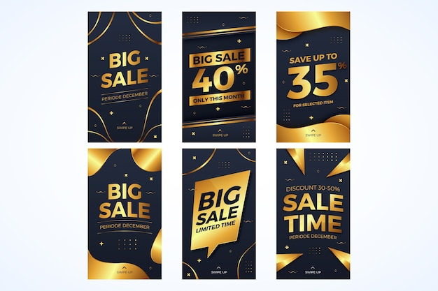 Collection of golden sales instagram banners Free Vector