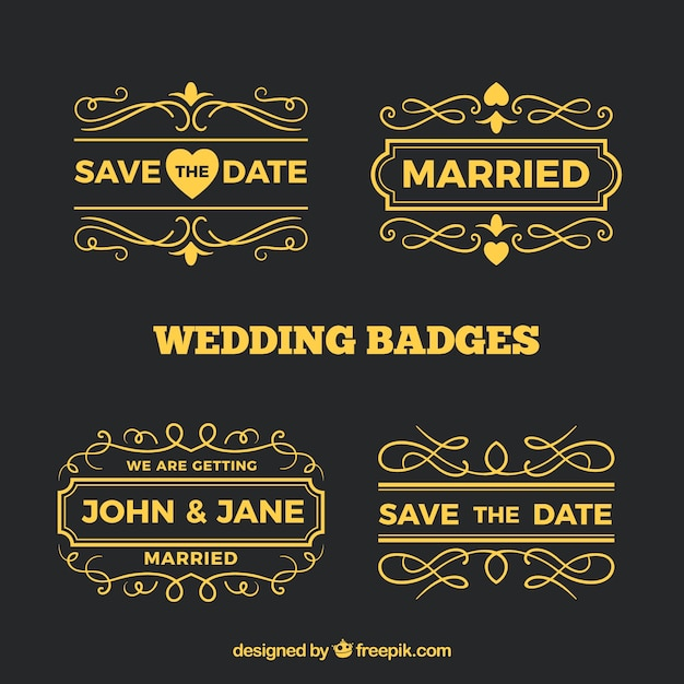 Collection of golden wedding labels Free Vector
