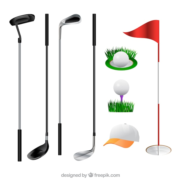 Collection of golf clubs and elements Free Vector