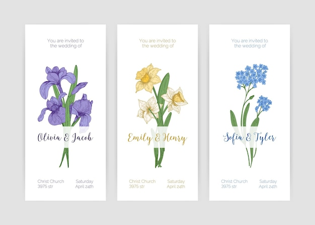 Collection of gorgeous vertical wedding invitation templates with spring garden blooming flowers and place for text on white background. hand drawn realistic colored botanical  illustration. Premium Vector