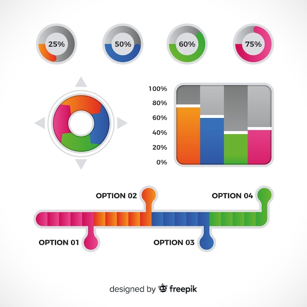 Collection of gradient infographic element Free Vector