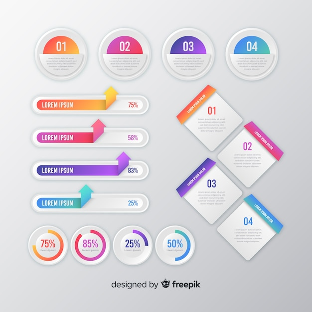 Collection of gradient infographic elements Free Vector
