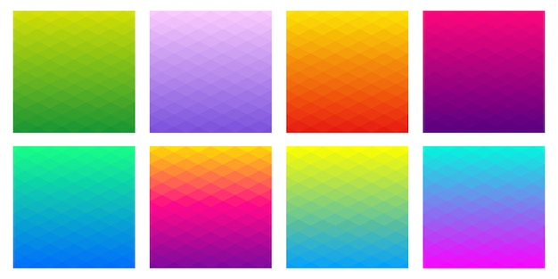 Collection of gradient polygonal backgrounds of rhombus. geometric design in different colours Premium Vector