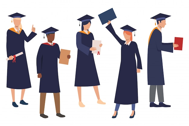 Collection of graduating students Free Vector