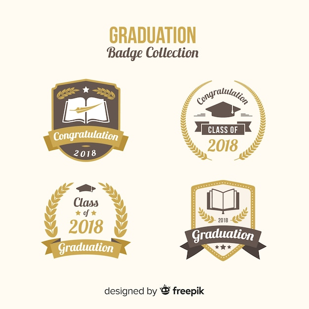 Collection of graduation badges Free Vector