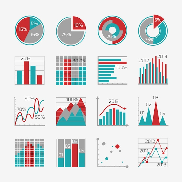 Collection of graphs with different designs for infographics Premium Vector
