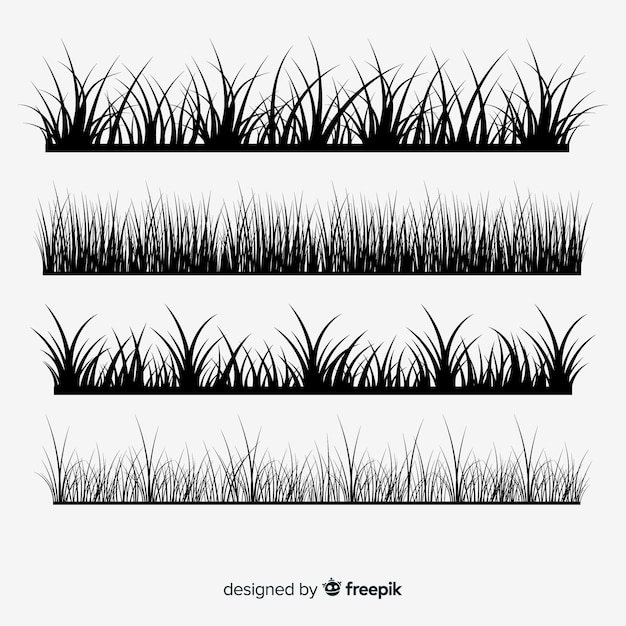 Collection of grass border silhouettes Free Vector
