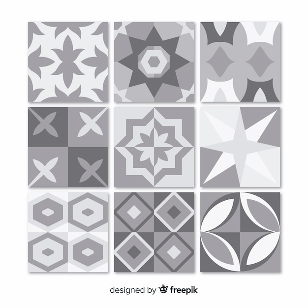 Collection of gray tiles Free Vector