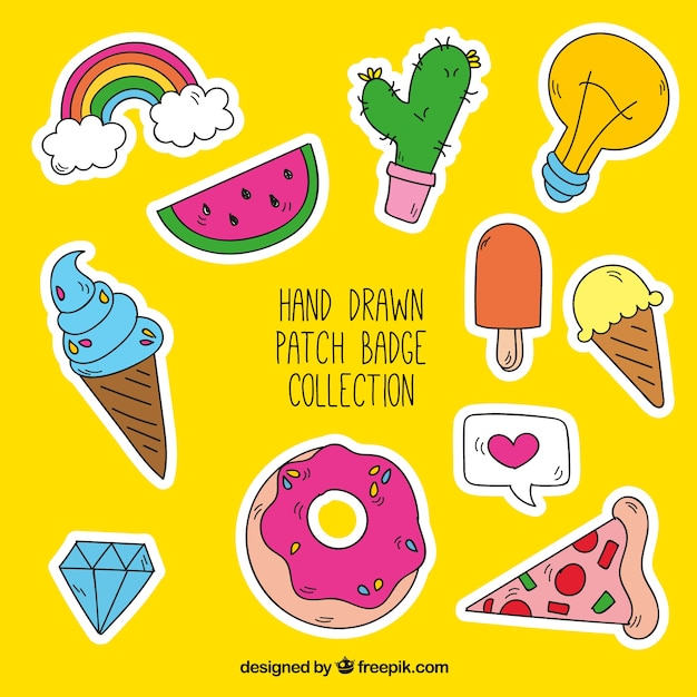 Collection of great patches Free Vector