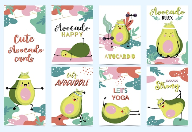 Collection of green avocado Premium Vector