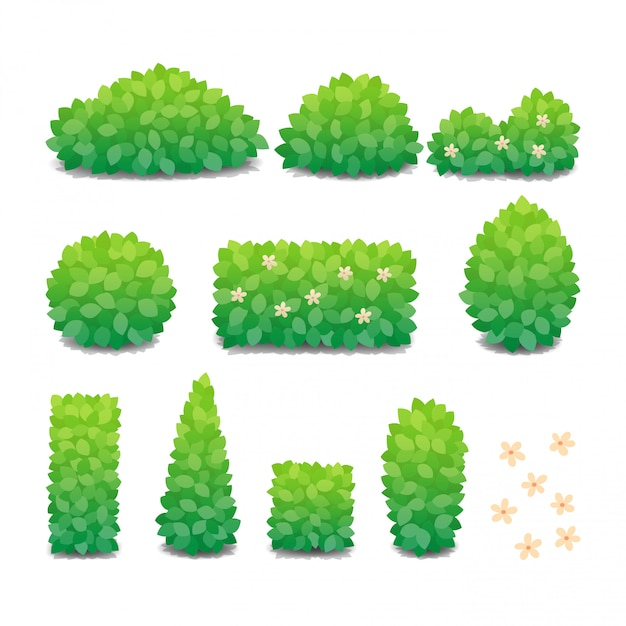 Collection of green bushes with flowers isolated. Premium Vector