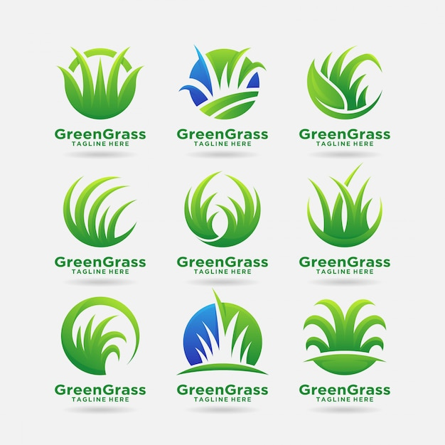 premium vector collection of green grass logo design https www freepik com profile preagreement getstarted 6523597