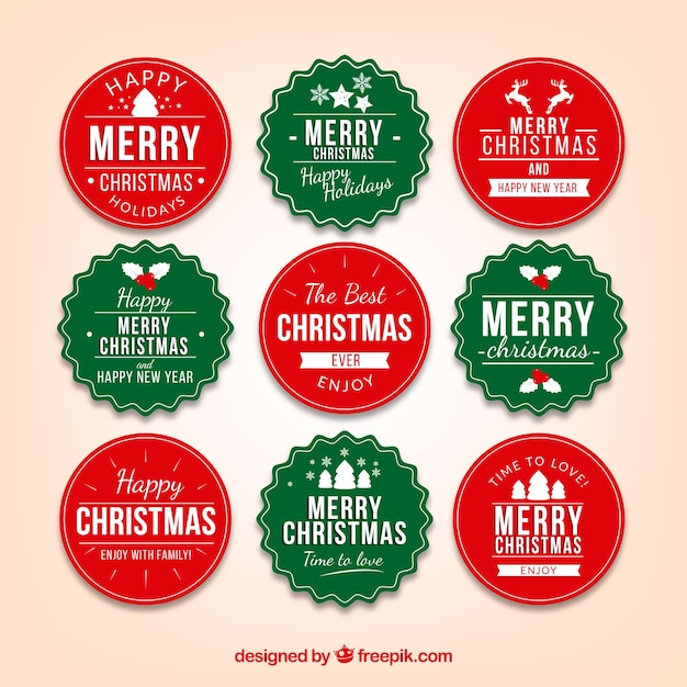 Collection of green and red christmas badge Free Vector